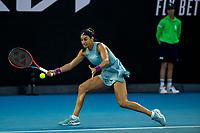 10th February 2021, Melbourne, Victoria, Australia; Caroline Garcia of France returns the ball during round 2 of the 2021 Australian Open on February 10 2020, at Melbourne Park in Melbourne, Australia.