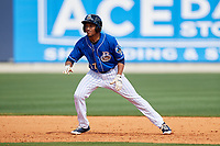 Biloxi Shuckers pinch runner Johnny Davis (17) leads off second base during a game against the Jackson Generals on April 23, 2017 at MGM Park in Biloxi, Mississippi.  Biloxi defeated Jackson 3-2.  (Mike Janes/Four Seam Images)