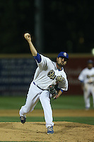 A.J. Vanegas (38) of the Rancho Cucamonga Quakes pitches during a game against the High Desert Mavericks at LoanMart Field on August 18, 2015 in Rancho Cucamonga, California. High Desert defeated Rancho Cucamonga, 4-0. (Larry Goren/Four Seam Images)