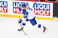 23rd May 2021, Riga Olympic Sports Centre Latvia; 2021 IIHF Ice hockey, Eishockey World Championship, Great Britain versus Slovakia;  3 Adam Janosik Slovakia shooting at the blue line