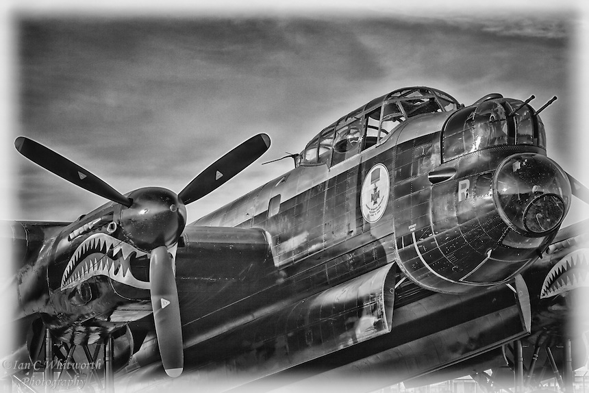 A close up view of the Lancaster bomber in black and white.