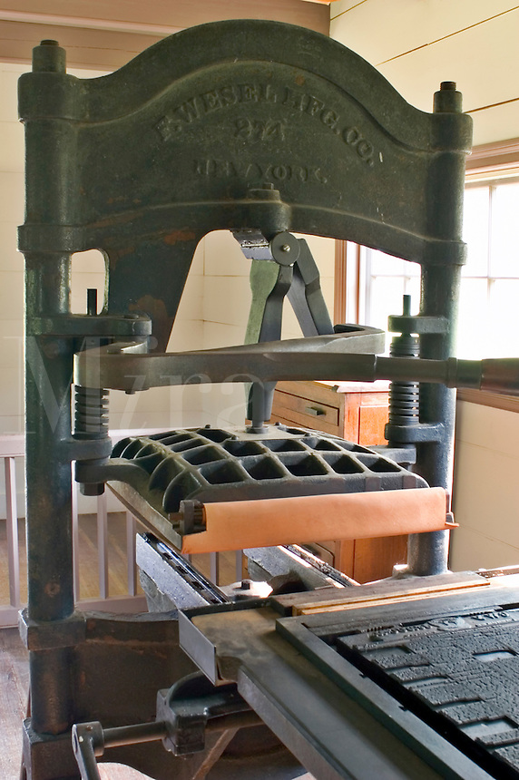 Printing press used by the Cherokee Nation to produce the first Indian newspaper in 1828, in New Echota, Georgia.