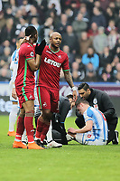 Andre Ayew of Swansea City leads his brother Jordan (L) off the pitch after being shown a red card by referee Michael Oliver for his foul against Jonathan Hogg of Huddersfield who is on the ground during the Premier League match between Huddersfield Town and Swansea City and at the John Smith's Stadium Huddersfield, England, UK. Saturday 10 March 2018