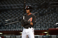 AZL D-backs Jeferson Espinal (2) at bat during an Arizona League game against the AZL Dodgers Lasorda on August 12, 2019 at Chase Field in Phoenix, Arizona.  (Freek Bouw/Four Seam Images)