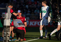 George Bridge is treated for a head injury during the 2020 Super Rugby match between the Crusaders and Highlanders at Orangetheory Stadium in Christchurch, New Zealand on Saturday, 9 August 2020. Photo: Joe Johnson / lintottphoto.co.nz