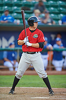 Ryan Fitzpatrick (34) of the Great Falls Voyagers bats against the Ogden Raptors at Lindquist Field on August 22, 2018 in Ogden, Utah. Great Falls defeated Ogden 3-1. (Stephen Smith/Four Seam Images)