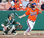 Outfielder Tyler Slaton (18) of the Clemson Tigers in a game against the University of Alabama-Birmingham on Feb. 17, 2012, at Doug Kingsmore Stadium in Clemson, South Carolina. UAB won 2-1.