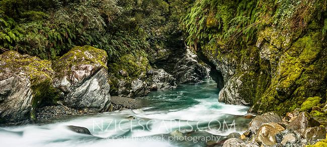 Wild river and gorge near Haast, West Coast, South Westland, UNESCO World Heritage Area, New Zealand, NZ