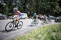 Thibaut Pinot (FRA/Groupama-FDJ) became the new GC leader overnight with the withdrawl of Primoz Roglic in the morning before the race start, so he didn't wear the leader's jersey during the last stage.<br /> <br /> Stage 5: Megève to Megève (154km)<br /> 72st Critérium du Dauphiné 2020 (2.UWT)<br /> <br /> ©kramon