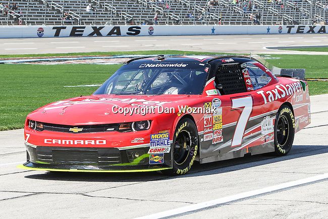 Nationwide Series driver Regan Smith (7) in action during the NASCAR Nationwide Series qualifying at Texas Motor Speedway in Fort Worth,Texas.
