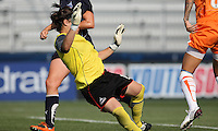 Freedom goalkeeper, Erin McLeod (18), makes an unsuccessful attempt to stop Natasha Kai's shot, resulting in Sky Blue's first goal.  Sky Blue defeated the Freedom 2-1 in the first WPS playoff game at the Soccerplex in Boyds, Maryland.