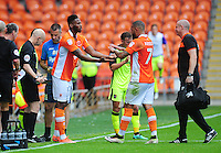 Blackpool's Jamille Matt comes on to replace the injured Kyle Vassell<br /> <br /> Photographer Kevin Barnes/CameraSport<br /> <br /> Football - The EFL Sky Bet League Two - Blackpool v Exeter City - Saturday 6th August 2016 - Bloomfield Road - Blackpool<br /> <br /> World Copyright © 2016 CameraSport. All rights reserved. 43 Linden Ave. Countesthorpe. Leicester. England. LE8 5PG - Tel: +44 (0) 116 277 4147 - admin@camerasport.com - www.camerasport.com