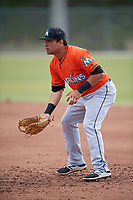 Miami Marlins Eric Gutierrez (74) during a Minor League Spring Training Intrasquad game on March 27, 2018 at the Roger Dean Stadium Complex in Jupiter, Florida.  (Mike Janes/Four Seam Images)