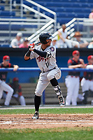 Tri-City ValleyCats shortstop Miguelangel Sierra (13) at bat during a game against the Batavia Muckdogs on July 16, 2017 at Dwyer Stadium in Batavia, New York.  Tri-City defeated Batavia 13-8.  (Mike Janes/Four Seam Images)