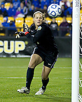 Duke University plays Wake Forest University in the NCAA Women's Final Four at Kennesaw State University.  Duke's Tara Campbell watches as the ball goes by her for a goal.  Duke won 4-1.