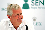 Colin Montgomerie speaking at a press conference this morning ahead of The Senior Open Golf Tournament at The Royal Porthcawl Golf Club in South Wales, which begins tomorrow.