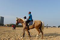 TOGO, Lome, beach and sea shore atlantic ocean, beach horse riding /  Strand am Atlantik, Strandpferde