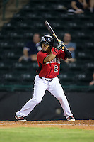 Eduard Pinto (2) of the Hickory Crawdads at bat against the Charleston RiverDogs at L.P. Frans Stadium on August 25, 2015 in Hickory, North Carolina.  The Crawdads defeated the RiverDogs 7-4.  (Brian Westerholt/Four Seam Images)