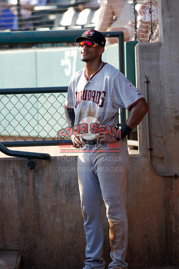 Hickory Crawdads outfielder Bubba Thompson (25) in the dugout during a game against the Charleston Riverdogs at the Joseph P. Riley Ballpark in Charleston, South Carolina.  Hickory defeated Charleston 8-7. (Robert Gurganus/Four Seam Images)