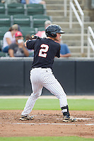 Tyler Shryock (2) of the Kannapolis Intimidators at bat against the Lakewood BlueClaws at CMC-NorthEast Stadium on July 20, 2014 in Kannapolis, North Carolina.  The Intimidators defeated the BlueClaws 7-6. (Brian Westerholt/Four Seam Images)