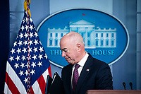 United States Secretary of Homeland Security Alejandro Mayorkas, departs during a news conference in the James S. Brady Press Briefing Room at the White House in Washington, D.C., U.S., on Friday Sept. 24, 2021. President Biden faces another border crisis as thousands of Haitians try to cross into the U.S. from Mexico, and his administration's response has sparked harsh criticism from fellow Democrats over what they see as inhumane treatment of the migrants.<br /> Credit: Al Drago / Pool via CNP /MediaPunch