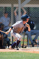 GCL Tigers West designated hitter Jon Rosoff (8) follows through on a swing during a game against the GCL Tigers East on August 8, 2018 at Tigertown in Lakeland, Florida.  GCL Tigers East defeated GCL Tigers West 3-1.  (Mike Janes/Four Seam Images)