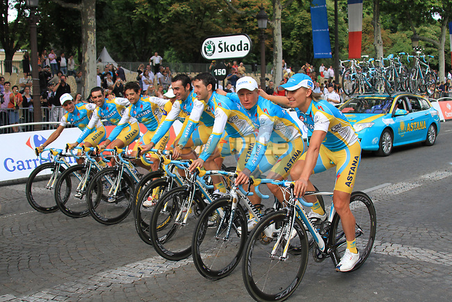 Race winner Yellow Jersey Alberto Contador (ESP) and Astana part of the team parade at the end of the final Stage 20 of the 2010 Tour de France running 102.5km from Longjumeau to Paris Champs-Elysees, France. 25th July 2010.<br /> (Photo by Eoin Clarke/NEWSFILE).<br /> All photos usage must carry mandatory copyright credit (© NEWSFILE | Eoin Clarke)