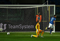 Football: Uefa Nations League Group A match Italy vs Netherlands at Gewiss stadium in Bergamo, on October 14, 2020.<br /> Italy's Lorenzo Pellegrini (r) celebrates after scoring in spite of Netherlands' goalkeeper Jasper Cillessen (l)  during the Uefa Nations League match between Italy and Netherlands at Gewiss stadium in Bergamo, on October 14, 2020. <br /> UPDATE IMAGES PRESS/Isabella Bonotto