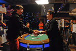 Vanessa Selbst gives Shannon Shorr a handshake after defeating him in the quarterfinals.