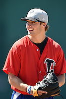 Lansing Lugnuts pitcher Shane Dawson (23) during practice before a game against the South Bend Silver Hawks on June 6, 2014 at Cooley Law School Stadium in Lansing, Michigan.  South Bend defeated Lansing 13-5.  (Mike Janes/Four Seam Images)