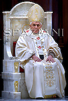 Albano's cathedral, the outskirt of Rome,Benedict XVI,ceremony in to bless a new altar.Sept.21,2008