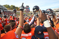 Oct. 30, 2010. The Virginia Cavaliers celebrate the 24-19 upset win over the Miami Hurricanes at Scott Stadium. Photo/Andrew Shurtleff