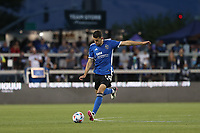SAN JOSE, CA - AUGUST 13: Nathan Cardoso #13 of the San Jose Earthquakes during a game between Vancouver Whitecaps and San Jose Earthquakes at PayPal Park on August 13, 2021 in San Jose, California.