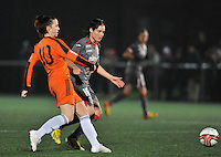 20131017 - GLASGOW , SCOTLAND : Standard's Cecile De Gernier (right) pictured with Glasgow's Suzanne Lappin (left) during the female soccer match between GLASGOW City Ladies FC and STANDARD Femina de Liege , in the 1/16 final ( round of 32 ) second leg in the UEFA Women's Champions League 2013 in Petershill Park in Glasgow. First leg ended in a 2-2 draw . Thursday 17 October 2013. PHOTO DAVID CATRY