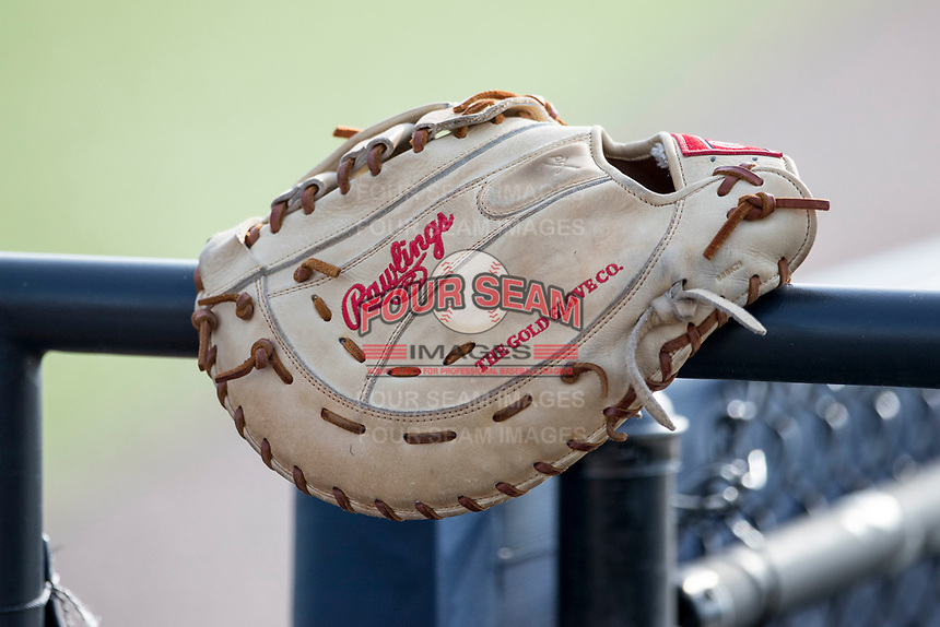 First base glove on May 16, 2017 at Ray Fisher Stadium in Ann Arbor, Michigan. (Andrew Woolley/Four Seam Images)