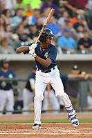 Right fielder Jose Medina (8) of the Columbia Fireflies bats in a game against the Lexington Legends on Friday, April 21, 2017, at Spirit Communications Park in Columbia, South Carolina. Columbia won, 5-0. (Tom Priddy/Four Seam Images)