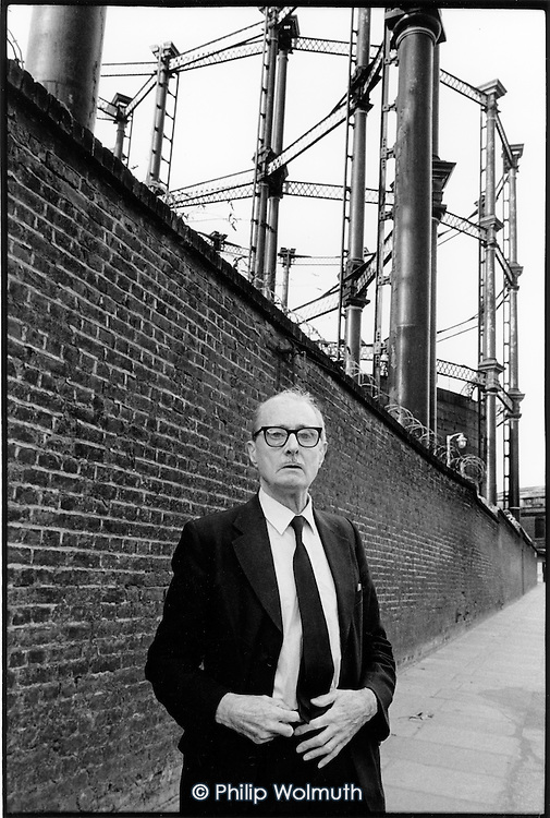Jim Brennan, who lives close to the listed gasometers on the King's Cross development site, was one of the few people given leave to petition the government against the private British Rail Terminus Bill; London 1989.