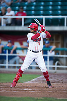 Orem Owlz third baseman Kevin Maitan (9) at bat during a Pioneer League game against the Ogden Raptors at Home of the OWLZ on August 24, 2018 in Orem, Utah. The Ogden Raptors defeated the Orem Owlz by a score of 13-5. (Zachary Lucy/Four Seam Images)