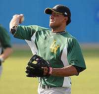 July 16, 2009: Infielder Angel Gonzalez (28) of the Lynchburg Hillcats, Carolina League affiliate of the Pittsburgh Pirates, before a game at G. Richard Pfitzner Stadium in Woodbridge, Va. Photo by: Tom Priddy/Four Seam Images