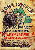 Kona coffee beans and bag at the Mauna Loa Coffee Mill and Museum, Captain Cook, Hawaii