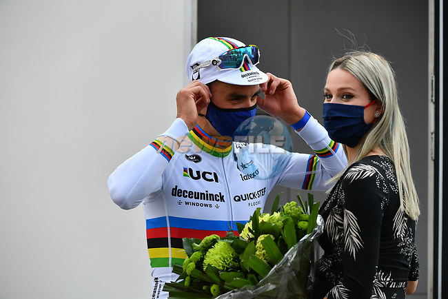 World Champion Julian Alaphilippe (FRA) Deceuninck-Quick Step with partner Marian Rousse after winning the 2021 Flèche-Wallonne, running 193.6km from Charleroi to Huy, Belgium. 21st April 2021.  <br /> Picture: Serge Waldbillig | Cyclefile<br /> <br /> All photos usage must carry mandatory copyright credit (© Cyclefile | Serge Waldbillig)
