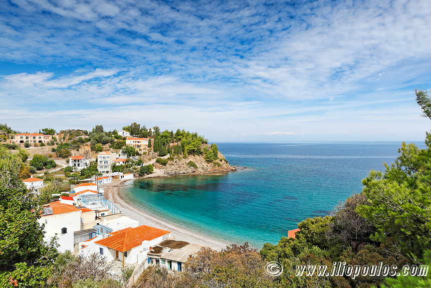 The beach Nagos in Chios island, Greece