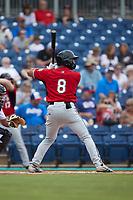 Noah Campbell (8) of the Carolina Mudcats at bat against the Kannapolis Cannon Ballers at Atrium Health Ballpark on July 18, 2021 in Kannapolis, North Carolina. (Brian Westerholt/Four Seam Images)