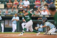Daytona Tortugas Steven Leyton (28) bats during a game against the Bradenton Marauders on June 12, 2021 at LECOM Park in Bradenton, Florida.  (Mike Janes/Four Seam Images)