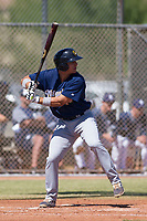 Brent Diaz (43) of the Milwaukee Brewers at bat during an Instructional League game against the San Diego Padres on September 27, 2017 at Peoria Sports Complex in Peoria, Arizona. (Zachary Lucy/Four Seam Images)