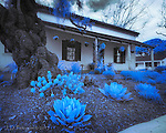 """Casa de la Torre, Monterey, California (Infrared) ©2017 James D Peterson.  Downtown Monterey still has many historic adobe homes originally built by Spanish settlers.<br /> <br /> Limited Edition - Call Jim at 928-554-4340 for current availability.<br /> <br /> This image was selected for the """"Seeing Blue"""" exhibit at Gallery 25N."""
