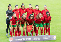HOUSTON, TX - JUNE 10: The Portugal Starting XI pose for a team photo before a game between Portugal and USWNT at BBVA Stadium on June 10, 2021 in Houston, Texas.