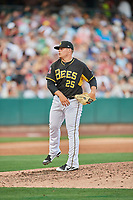 Tyler Stevens (25) of the Salt Lake Bees delivers a pitch to the plate against the Memphis Redbirds at Smith's Ballpark on July 24, 2018 in Salt Lake City, Utah. Memphis defeated Salt Lake 14-4. (Stephen Smith/Four Seam Images)