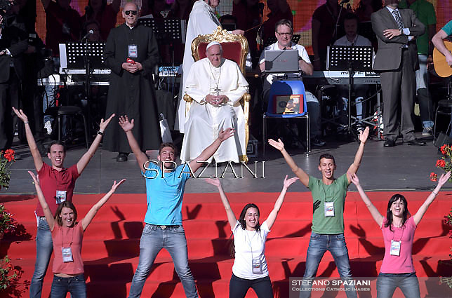 """Pope Francis  during a convention  organised by the """"Renewal in the Spirit""""at the Olympic stadium in Rome on June 1, 2014."""