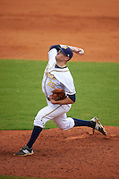 Montgomery Biscuits pitcher Mark Sappington (25) delivers a pitch during a game against the Tennessee Smokies on May 25, 2015 at Riverwalk Stadium in Montgomery, Alabama.  Tennessee defeated Montgomery 6-3 as the game was called after eight innings due to rain.  (Mike Janes/Four Seam Images)